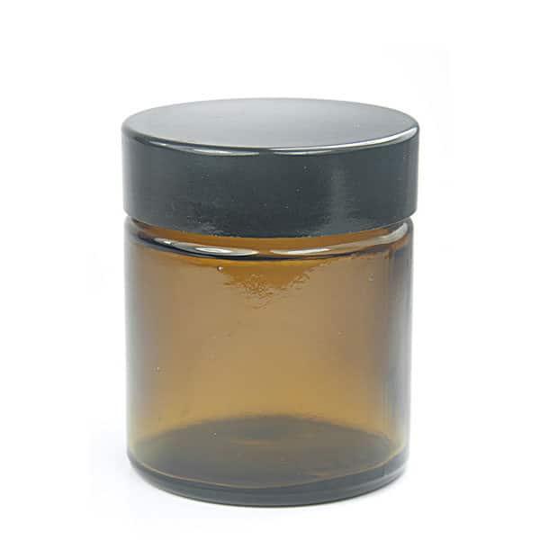Sales Ampulla Flacon - Pot À Onguent En Verre Ambré 30 Ml Couvercle Noir En Résine