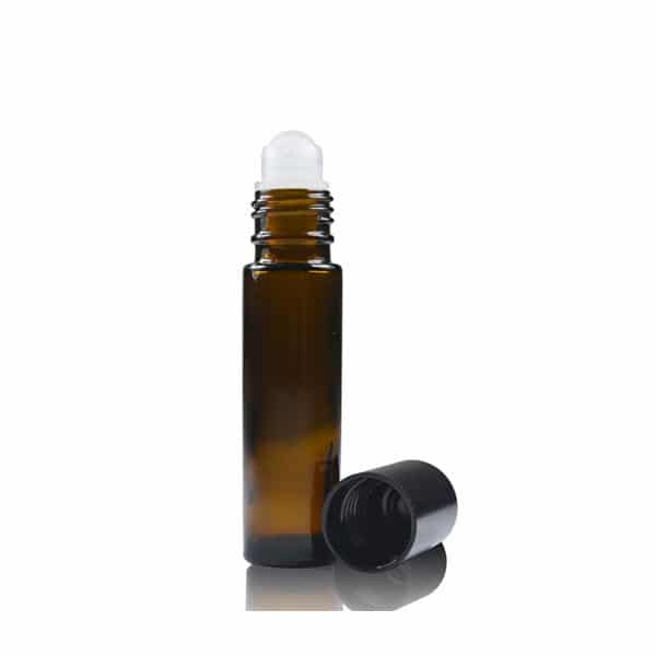 Sales Ampulla Flacon - Amber Verre Bouteille & Rouleau 17 Mm Noir Urée Et Boule En Plastique - 10Ml